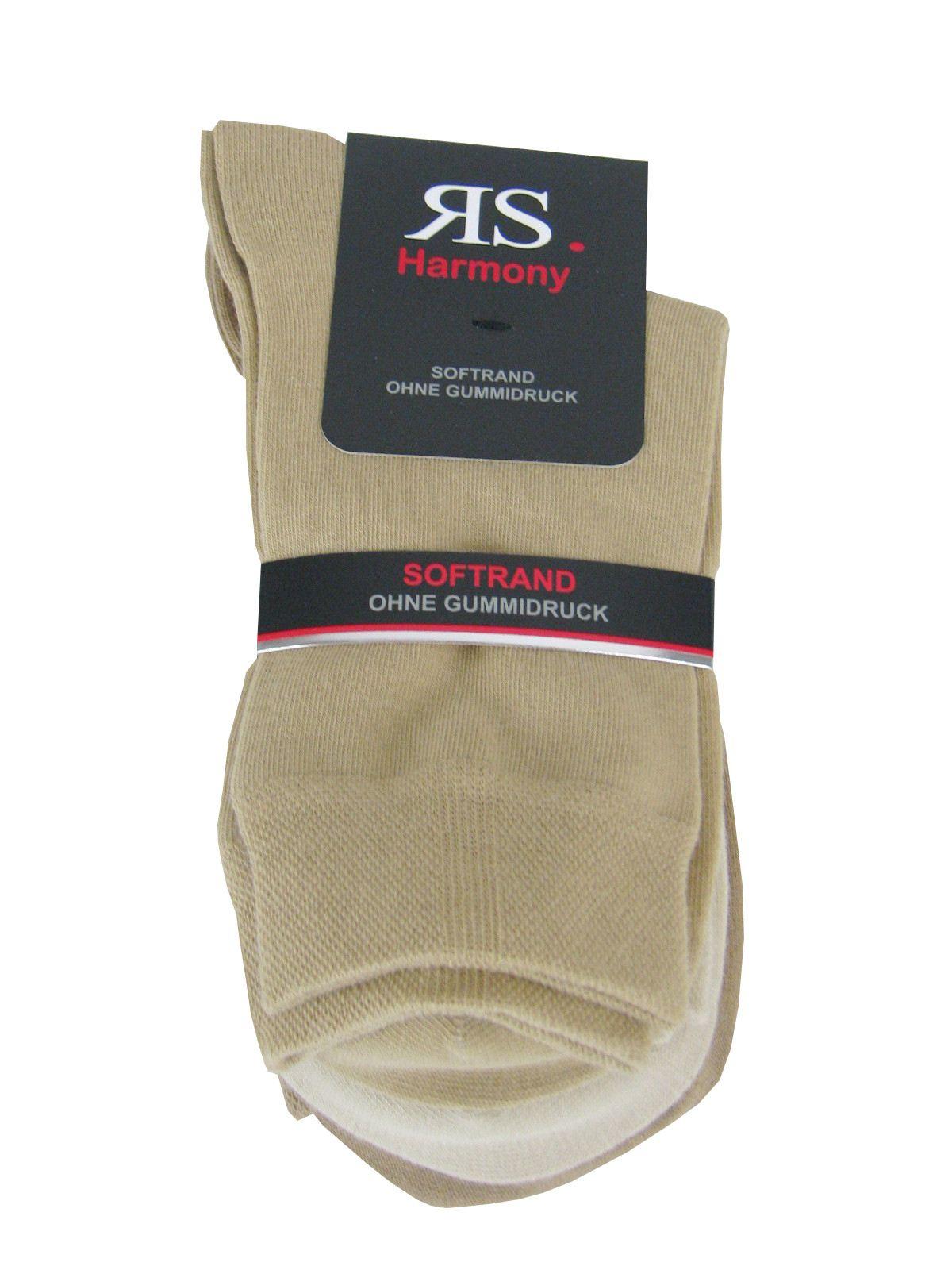 3 Paar Damen Socken ohne Gummi mit extra weichem Softrand 3 Naturfarben 35-42