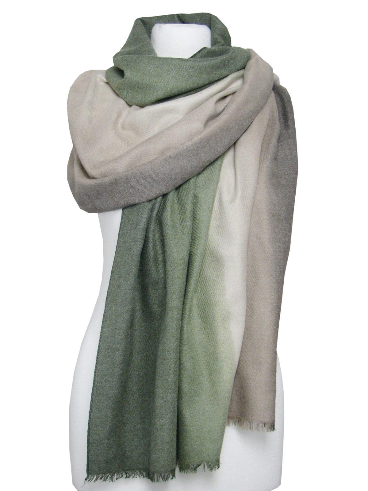 gutes Angebot heißer verkauf rabatt am billigsten XXL Schal Tuch Stola Farbverlauf mit Fransen Mehrfarbig, Oliv-Braun