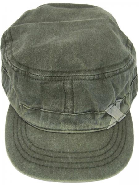 Military Cap Cuba Cap Used Washed Baumwolle Unisex, Khaki Detail 01